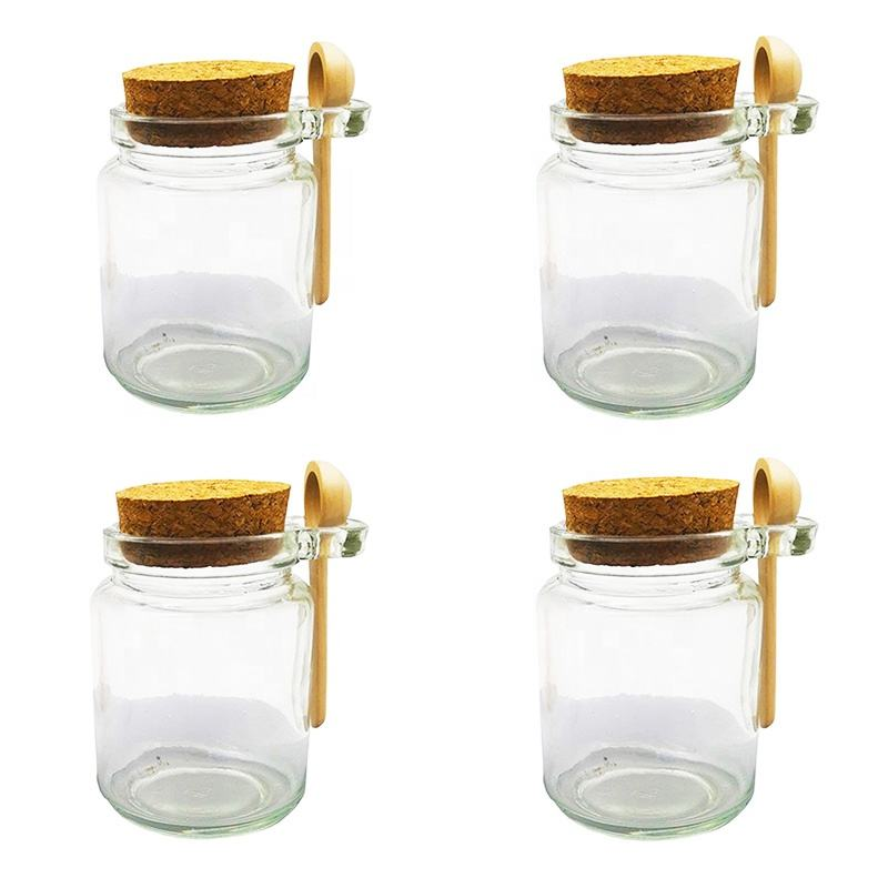 Multi functional glass seasoning jar with lid and spoon F7E9