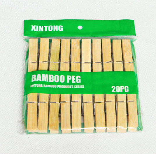 7.2*1.2cm Bamboo Clothes Pegs Clips ,20pcs / packing