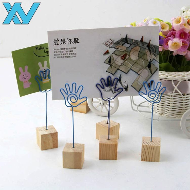 Factory Wholesale colors Palm design metal clip with Square Wooden base memo holder