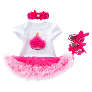 OEM latest princess party birthday tutu dress set with headband and shoes