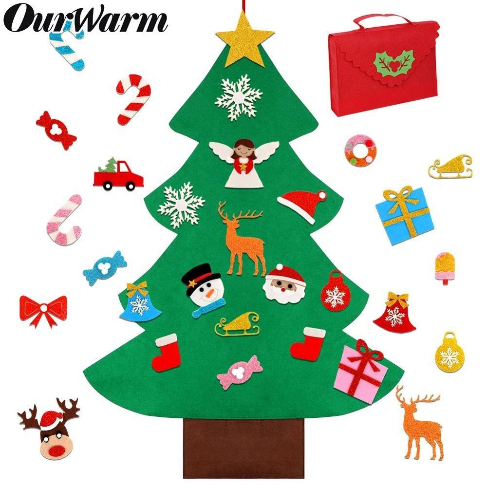 Ourwarm New 2020 37*30 inch DIY Felt Christmas Tree Wall With 30 pcs Ornament Set For Kids
