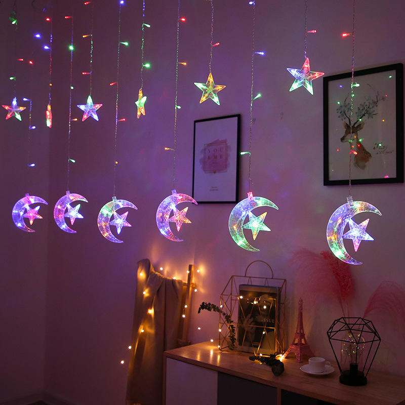 Star window string lights fairy wall Moon luces led cortina twinkle star 300 led window curtain christmas star lights