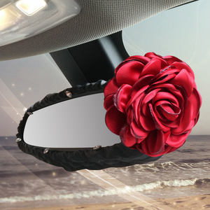 Red Rose Flower Car Seat Interior Accessories Auto Crystal Floral Handbrake Shifter Gear Cover Seat Belt Cover