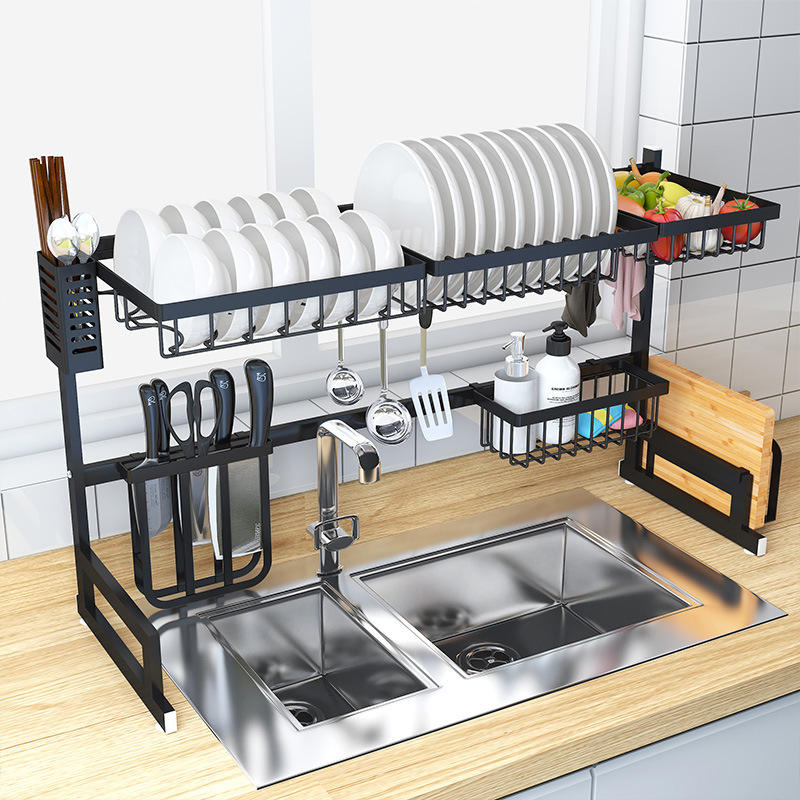 Kitchen Dish Rack Over Sink - 2 Tier Dish Rack for Counter Over the Sink Dish Rack
