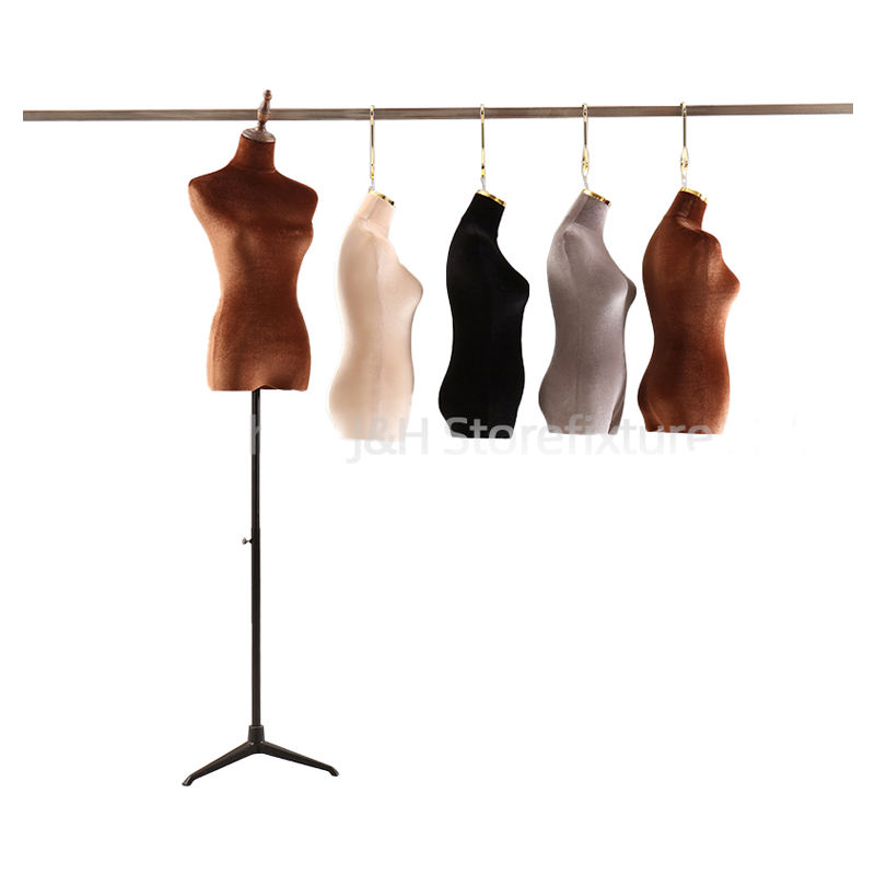 Fashion Fabric Covered Female Mannequin Torso Half Body Female Hanging Mannequin