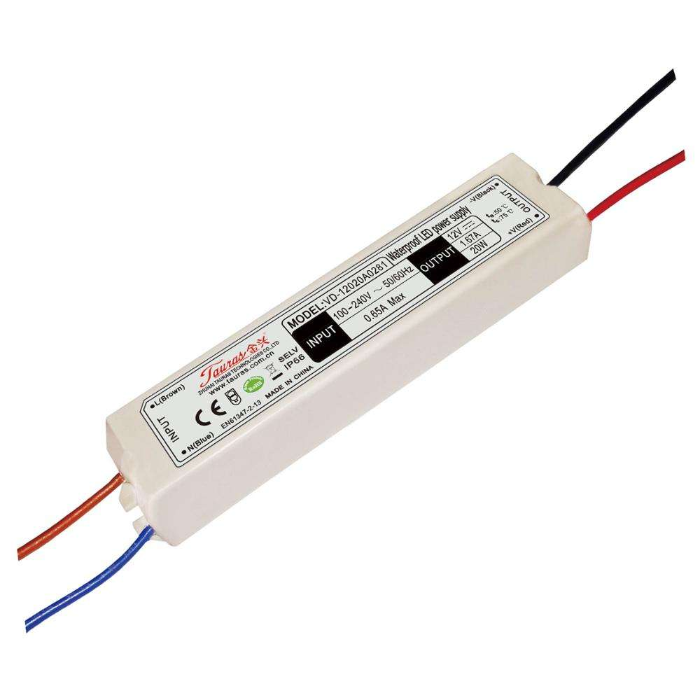12V 20W LED power supply plastic case waterproof constant voltage LED driver for refrigerator