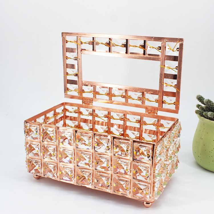 Kitchen And Bathroom Tabletop Use Nordic Rectangular Beads Metal Acrylic Tissue Box for Home Decoration