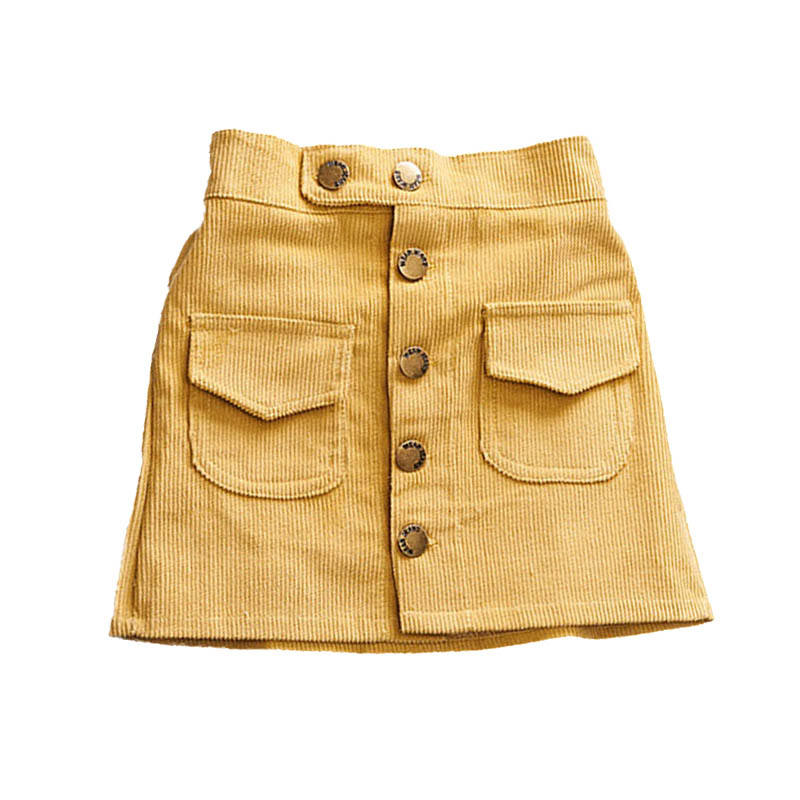 Casual Girls Skirts Autumn Winter Children Buttons Clothes Kids Corduroy Skirt Baby Little Girl Skirts
