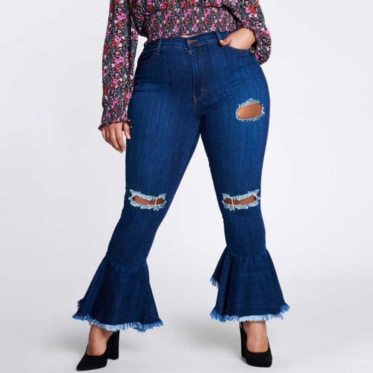 Plus Size Pants Ladies Jeans Denim Latest Products 2021 Euro Plus Size Holes Ladies Flare Jeans -YY