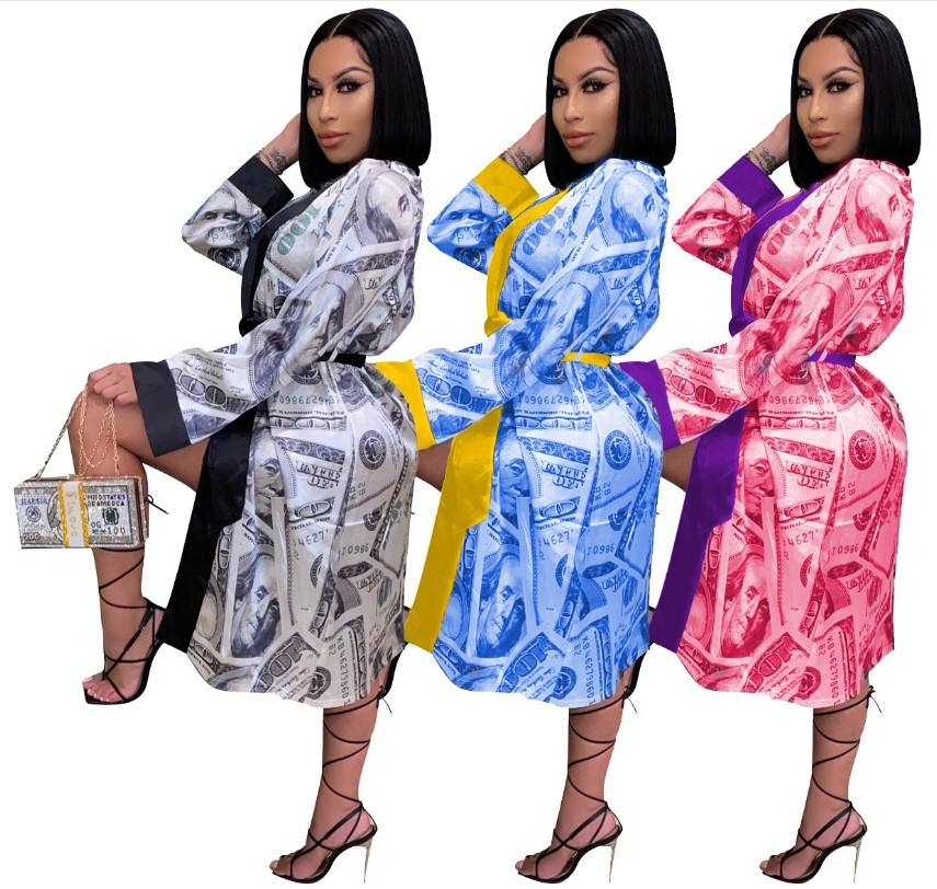 D9336 hot selling 3colors women's clothes US dollar money print belted kimono robes loose pajamas, home clothes, coat dresses