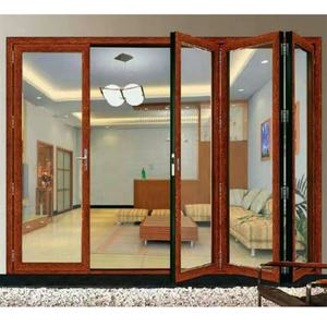 High quality 4 panel aluminium accordion insulated glass folding doors