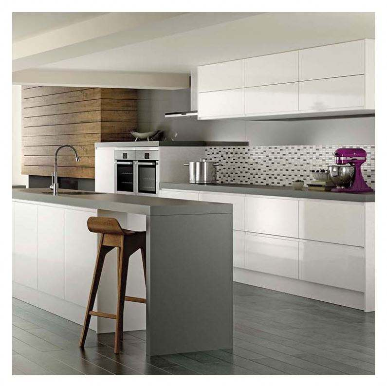 Ultra Modern High Tech Kitchen Cabinet Design With Island For Small Turkish Kitchen
