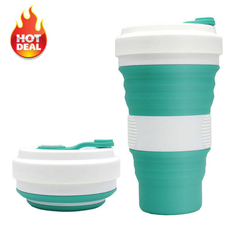 550ML Eco Friendly Wholesale Custom Portable Reusable Folding Silicone Collapsible Drinking Coffee Cup With Lid