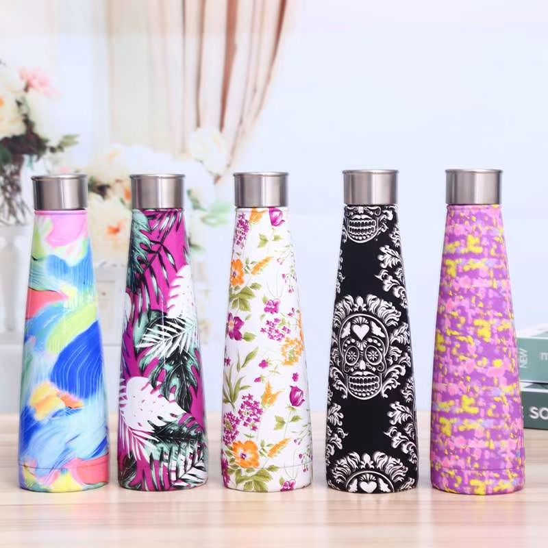 Cola Shape Colorful Pretty Gym Water Bottle Double Wall Stainless Steel Thermos Flask