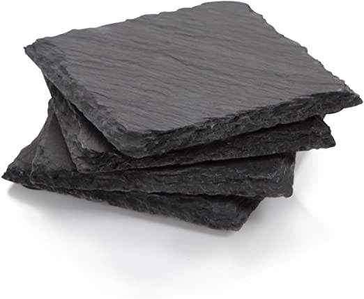 Hot sell custom square rubber feet stone coaster Slate Coaster
