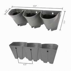 3 pocket Garden Plastic Wall Mounted Flower Pot Self Watering Vertical Planter