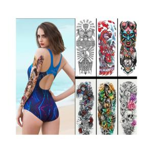 amazon Large Arm Sleeve Tattoo Waterproof Temporary Tattoo Sticker Rose Lotus Women Men Girl Full Flower Body Art Tatoo