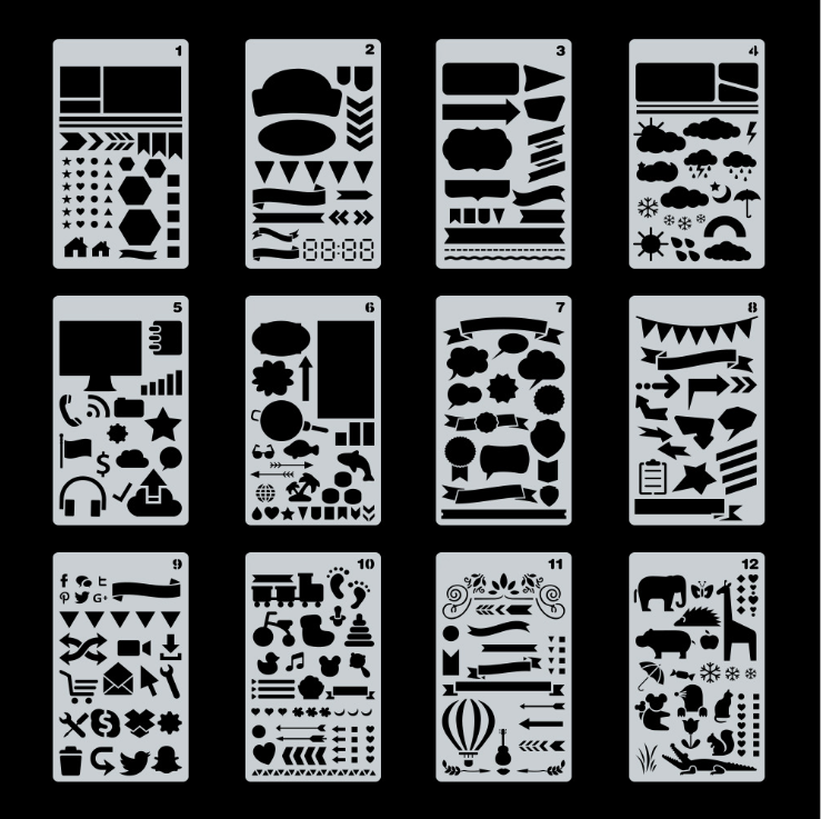 24 PCS Journal Stencil Plastic Planner SetためJournal Notebook Diary Scrapbook DIY Drawing Template