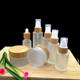 Cosmetic frosted glass cream jar lotion spray pump bottle friendly ecological bamboo lid wood cap skin care packaging