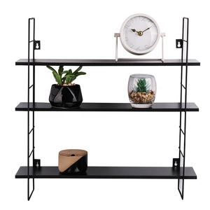wholesale high quality removable folding stock iron metal MDF hanging wooden decorative wall shelf