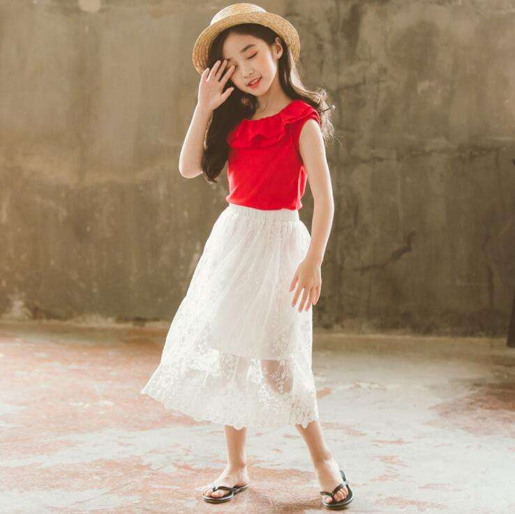 CL0805A children long skirts white lace embroidered skirts girl princess skirt