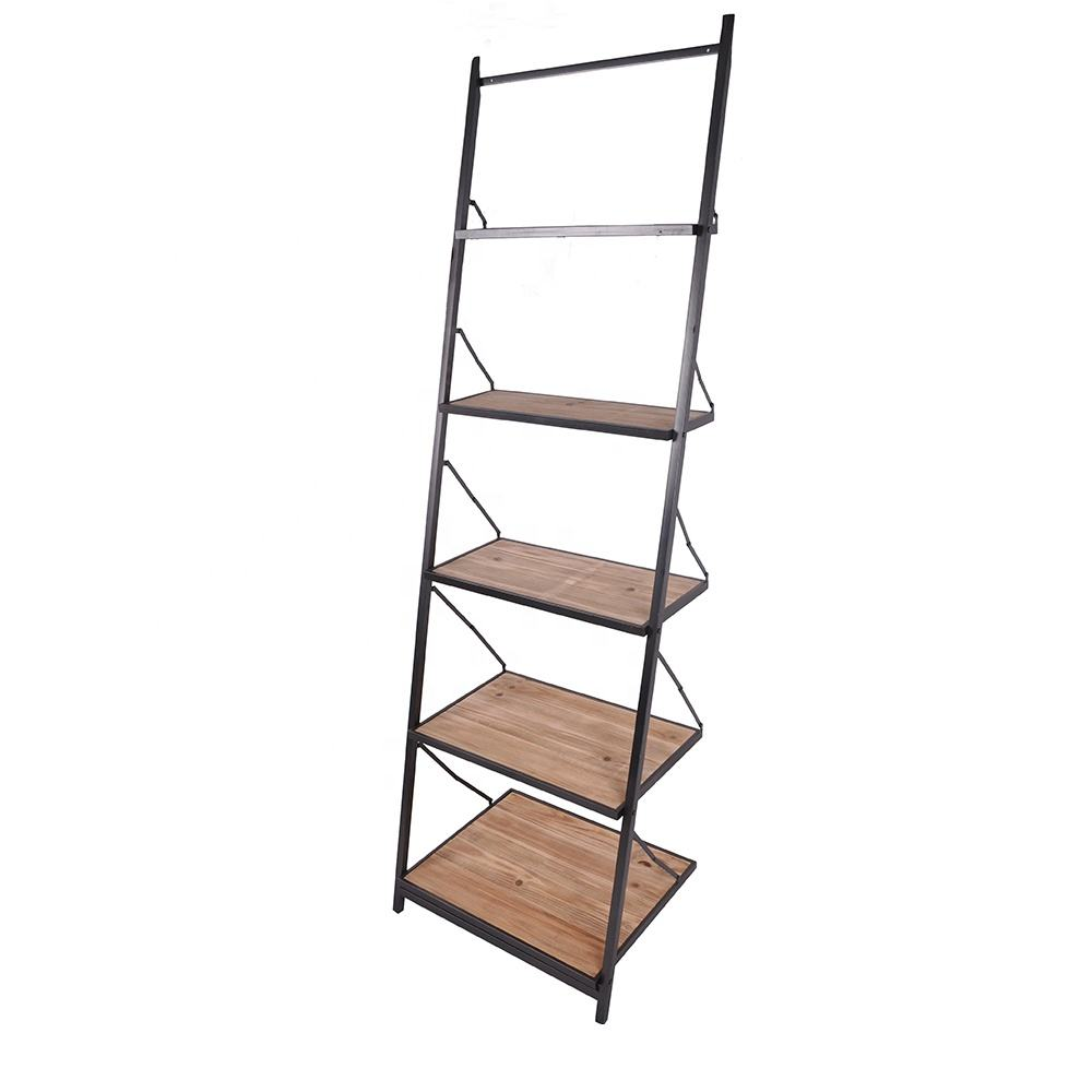 Mayco Industrial Decorative 5-Shelf Leaning Ladder Bookcase,Wood and Metal Book Shelf with Ladder