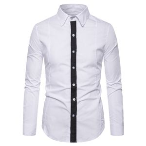 Eur Size Turn-down Collar Long Sleeve Shirt Formal Man Simple White Shirts For Men