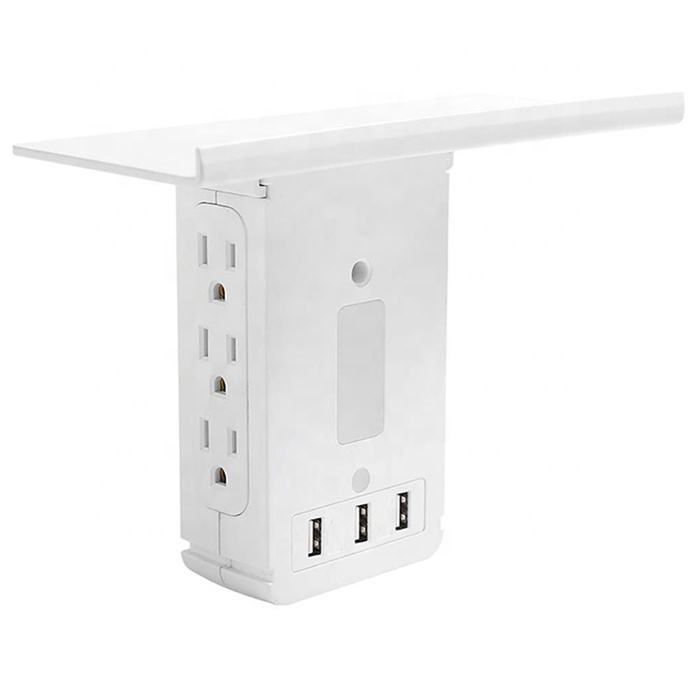 socket shelf-6 port surge protector wall outlet 3 USB ports with night light