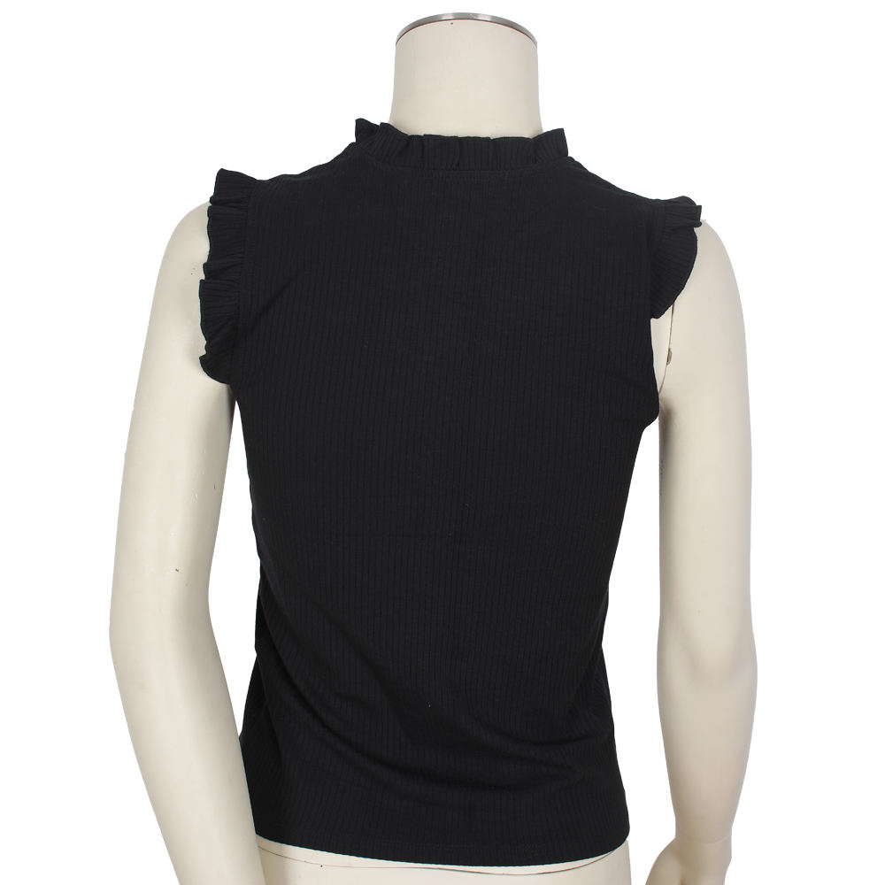 2020 Hot Selling In Asia Fashionable Simple Casual Black Women's Knit Blouse