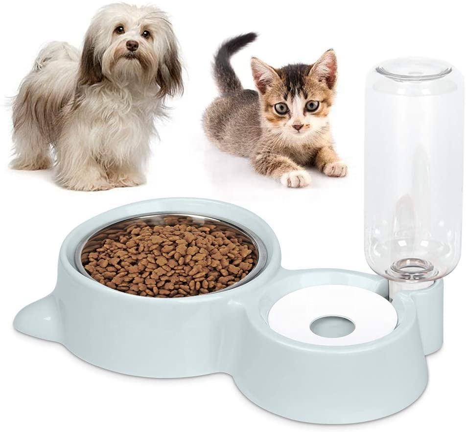 2-in-1 Dogs Cats Stainless Steel Feeder and Auto Gravity Water Dispenser Cat Dog Feeder Automatic Water Bowl and Food Bowls Set