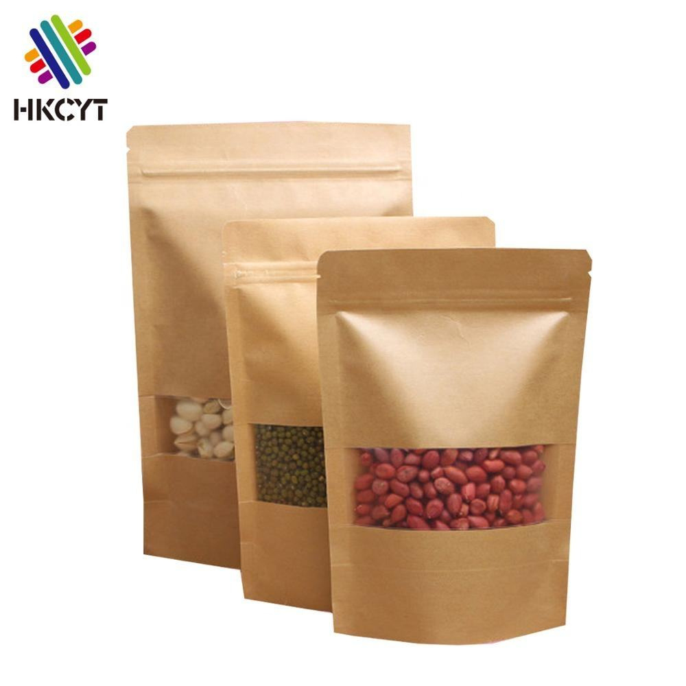 Stand up kraft paper mylar bags with ziplock window for snack,coffee,bacon,peanut