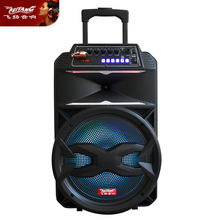 active baffle 12 inch battery LED light USB Bluetooth plastic portable amplifier DJ dancing trolley MIC speaker system