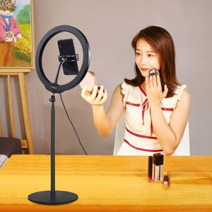 Factory price PULUZ 140cm Round Base Desktop Mount 10.2 inch 26cm LED ring light with tripod stand and Phone Clamp