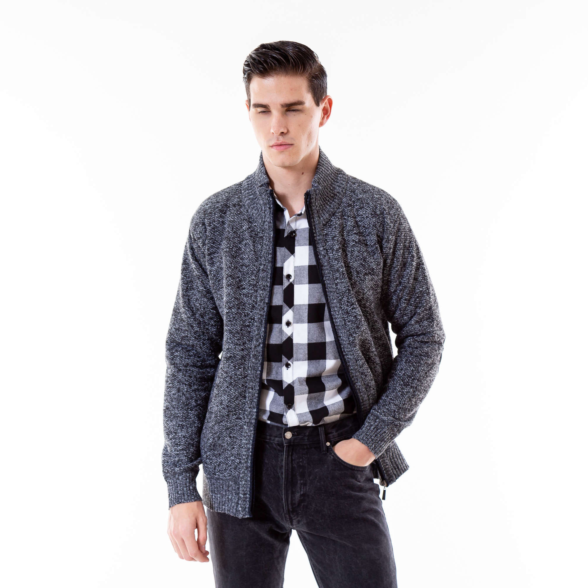 Cashmere Knitted Men's Sweaters Cardigan Autumn Zipper Knitting Sweater For Men