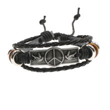 Leather Alloy bracelet Vintage Punk Rock Strap Wristband Peace Pigeon  Multilayer Knitting bracelet For Men-AlloyB031