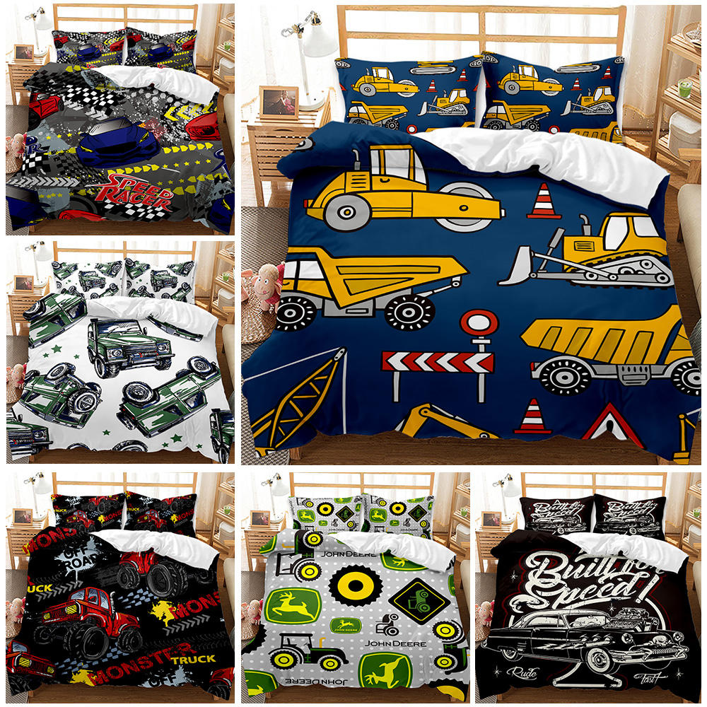 2021 Home Textiles 3Pcs Cartoon Bedding Set 3D Digital Pickup Truck Printed Duvet Cover Set