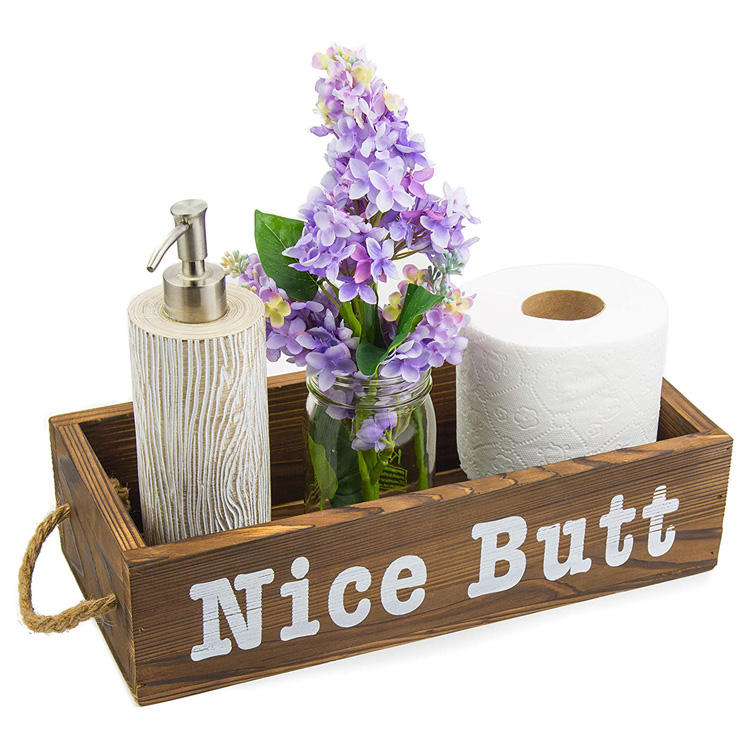 Nice Butt Bathroom Decor Box 15x7x4 inches Farmhouse Rustic Wood Crate