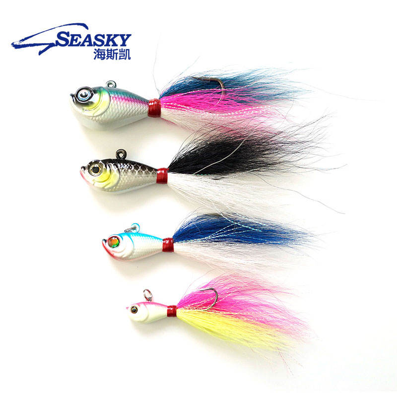 Seasky Jig Head Lead Bucktail 84g hand tied bucktail with mylar accents super strong black nickle saltwater hooks Fishing Lures