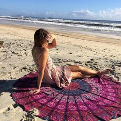 Custom printed 100 % Cotton mandala round beach towel wholes