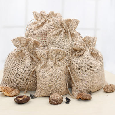 Promotional Christmas Wine Packing Jute Cotton Gift Plain Printed Storage Bag Custom Drawstring Bags