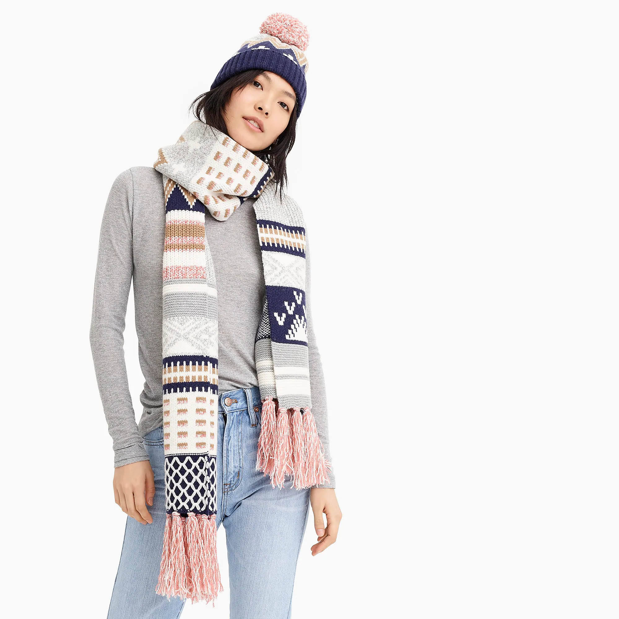 WOMEN'S 60/40 merino wool/nylon KNITTED JACQUARD HAT SCARF SETS