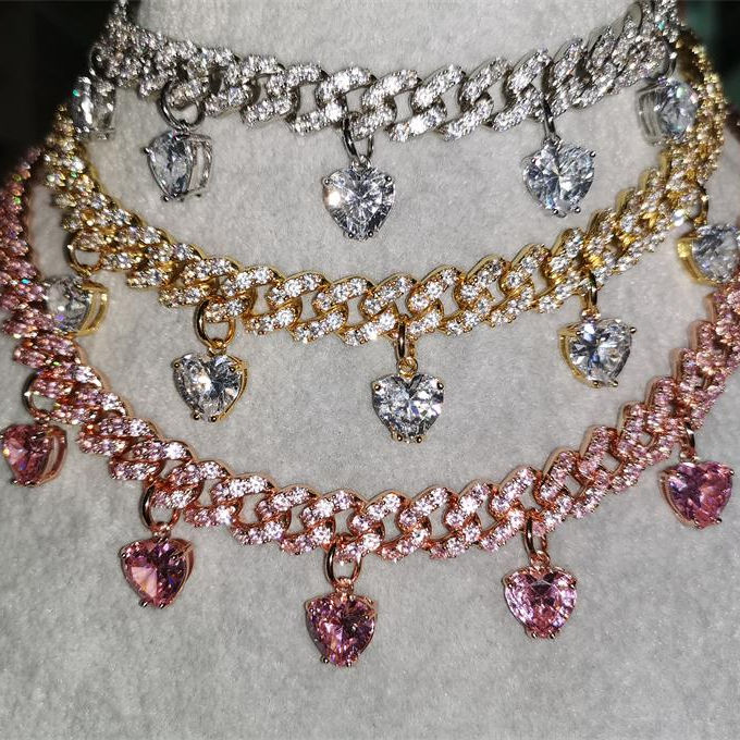 Women Hip Hop Necklace Gold Plated Heart Stone Lab Diamond Cz Cuban Choker