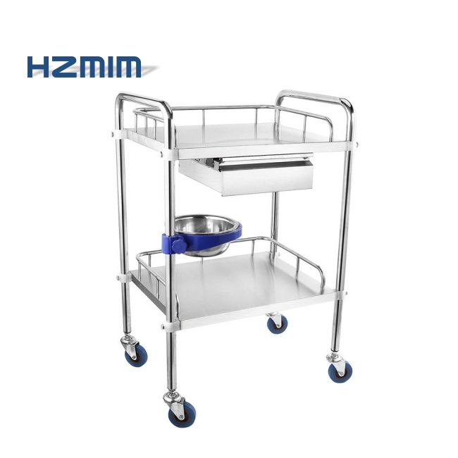 Stainless Steel Medical Trolley with Drawer, Medical Trolley Cart