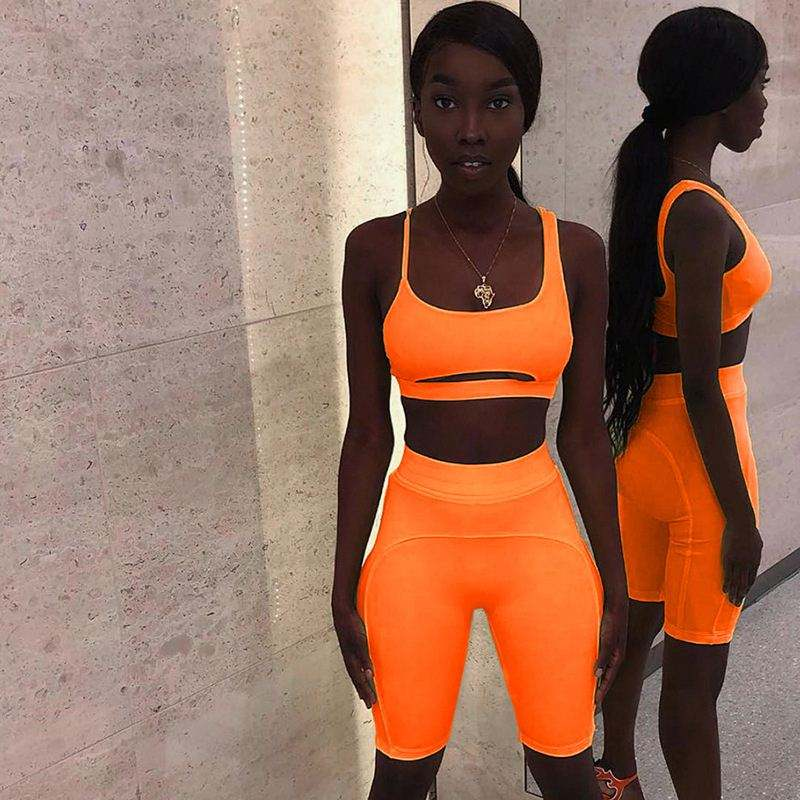 wholesale prom summer fitness neon color two piece set women outfits clothing shorts set