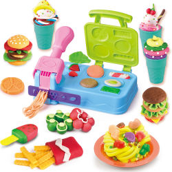 Color Light Clay Playing Toy Hamburger Store Kit Lightest Soft Modeling Dough
