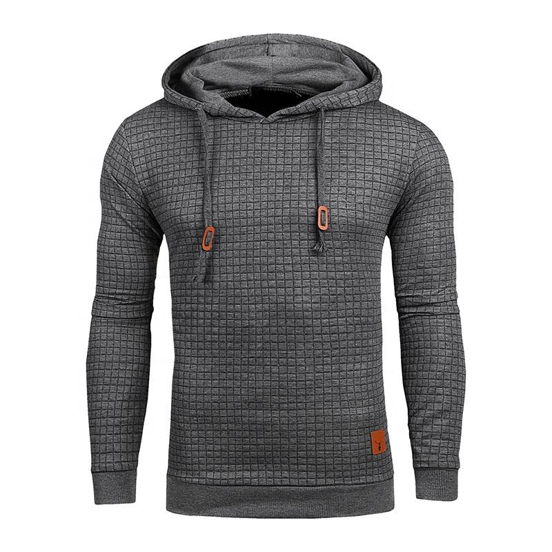 Plaid Hoodies Men Long Sleeve Solid Color Hooded Sweatshirt Casual Sportswear Male Hoodie