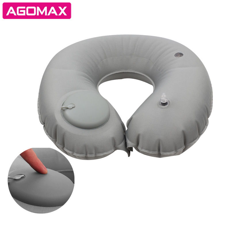 Logo Printing Air Blow Up Inflatable U Shape Pillow Cushion Travel Neck Pillow with Buckwheat Filling