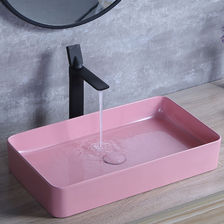 Chinese factory pink lavavo basin sink lavabo ceramic art sink bathroom basin toilet washing sink counter top basin