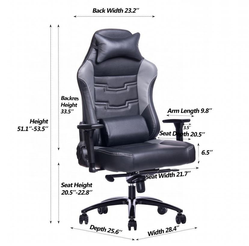 Anji High Quality Big Size Black Mold Foam Computer Dota 2 Game Chair Gaming OEM for Racer with wide cushion 200kg office chairs