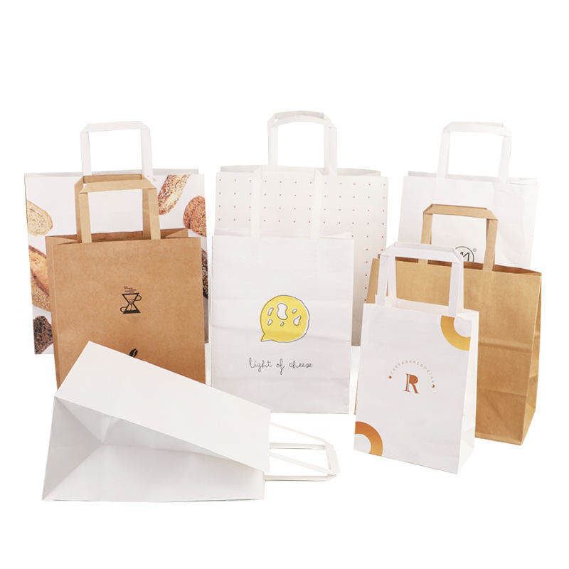 Bag Paper Packaging Wholesales Custom Logo Printed Cheap Recycled Take Away Food Packaging Shopping Brown Paper Bag With Twisted/Flat Handles